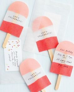 Fancy Popsicle Invites #invite #popsicles #handcraft #wood #stick #birthday #popsicle #ice
