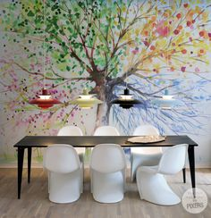 The Four Seasons #interior #panton #mural #chair #design #wall #dinig #room