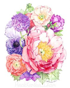 Peony Watercolor- Flower Art Painting - Pink Purple - Print - 8x10 #flowers