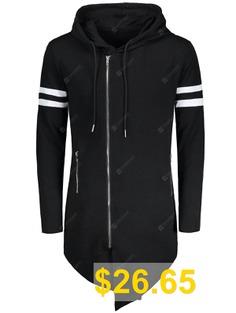 Varsity #Stripe #Zip #Up #Long #Asymmetrical #Hoodie #- #BLACK