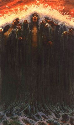 Carlos Schwabe - The Wave #water #horror #wave #women #illustration