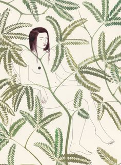harrietleemerrion: www.harrietleemerrion.com #woman #illustration #silhouette #flowers #leaves