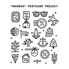 Series of marks for the Wander Postcard Project. #logo #icon
