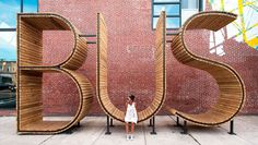 BUS stop in Baltimore - three huge letters - www.homeworlddesign. com (7) #bus #urban #design #station