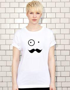 NATRI - BIG MUSTACHE BOY -white t-shirt - women