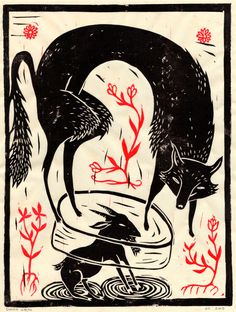 The Fox and the Goat, by Simon Væth. Hand printed linocut on rice paper.Â