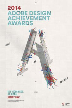 Adobe Design Achievement Awards 2014 #poster #graphicdesign #ADAA2014 #typography #3dtype #jeffhandesign