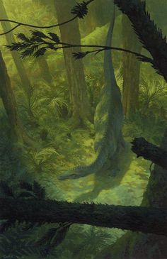 Dinosaur3 by christophe vacher #illustration #painting #dinosaur #forest #trees