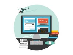 A desk #computer #flat #vector #illustration #desl