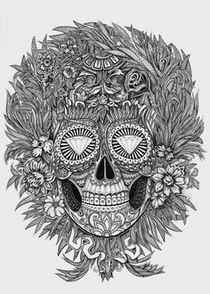 Mexican skull on the Behance Network #mexican #skull #flowers