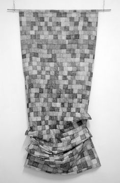 Compulsive Construction, graphite on fabric, 76x160 cm, 2013-2014. #white #black #karin #art #and #granstrand