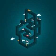 Raimundo Britto #illustration #isometric #geometry #escher