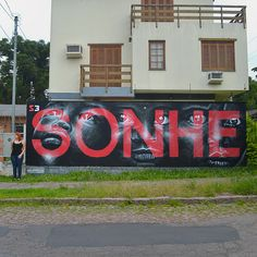 Sonhe / Dream by Marcos Torres #font #white #red #mural #spray #spiral3 #kid #black #illustration #paint #portrait #face #art #street #painting #type #helvetica #wall #brasil #typography