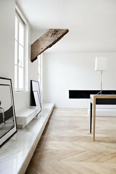 Braced. #interior #beam #white #wood #architecture #marble
