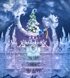 Learn how to create fairy tale style landscape with Christmas tree, Crescent Moon, surrealistic snow fountain and different winter elements
