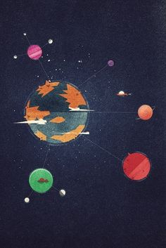 Dan Matutina Creates Edgy Google Planets World for Google Plus Course | Ape on the Moon: Contemporary Visual Arts #matutina #google+ #dan #space #texture #spaceship #illustration #planets