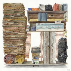 Organized Trash: Watercolor Paintings by Alvaro Naddeo