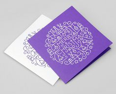 Illustrated Foil-blocked Christmas Card #illustration #white #christmas #line #purple #reindeer #card #xmas
