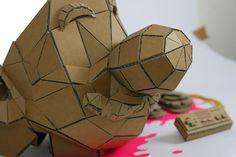 Brain over brawn by Munye&Co Studio #blood #font #nintendo #mario #munyeco #munye&co #cardboard #brain #geometric #pixel #tipography #illustration #hat #kill #bross #studio #papercraft #type #face