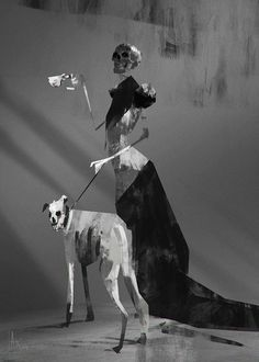 Black Skull by Alexandar #illustration #skeleton #dog