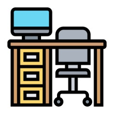 See more icon inspiration related to desk, business and finance, furniture and household, studio, chair, furniture, table and office on Flaticon.