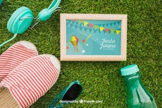 Summer concept with frame on grass Free Psd. See more inspiration related to Frame, Mockup, Summer, Template, Photo frame, Grass, Photo, Holiday, Mock up, Decoration, Pineapple, Decorative, Sunglasses, Vacation, Templates, Aloha, Up, Season, Concept, Composition, Mock, Summertime and Seasonal on Freepik.