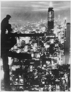 CJWHO ™ (New York City at night, Manhattan, 1935 Photo:...) #architecture #new york #photography #night #black and white #manhatten