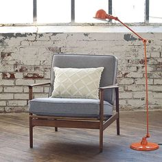 FFFFOUND! | tumblr_kv4curwHqn1qau50i.jpg 480 × 480 pixels #design #furniture #orange #grey #brick #lamp #chair #lighting