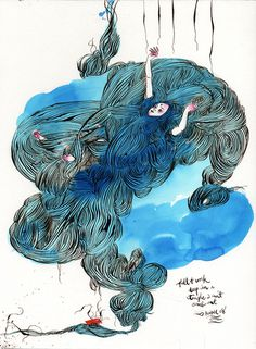 Kris Chau | The Strange Attractor #blue #illustration #watercolour
