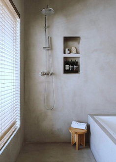 Concrete bathroom. Margot House by Conti, Cert. © Salva López. #bathroom