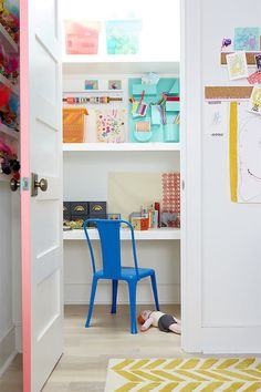 "a hidden closet ""office"" in a kid's room, stocked with craft supplies #interior #design #decor #deco #decoration"