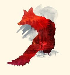 Bad Memories Art Print by Robert Farkas | Society6 #fox #color #orange #illustration #2 #watercolor #overlay