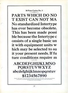 Intertype Caslon No. 3 type specimen #type #specimen #typography
