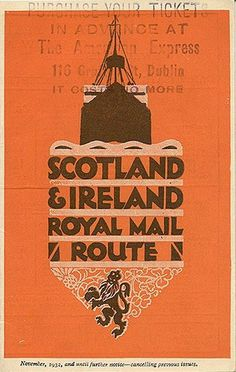 """Scotland & Ireland Royal Mail Route,"" 1932 #travel #vintage #poster #nautical"