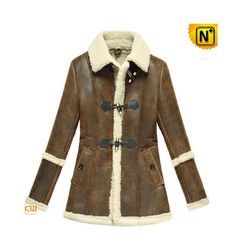 Women Brown Shearling Sheepskin Jacket CW614022 #jacket #brown #shearling
