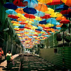 CJWHO ™ (Hundreds of Floating Umbrellas Once Again Cover...) #design #art #photography #landscape #installation #festival #portugal