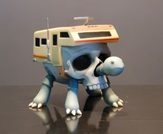 Turtlecamper Bone - by Jeremy Fish : You are NOWhere>> NOWhere Limited: Contemporary Art - Limited Editions - Artist Multiples #skull #animal #toy #trailer