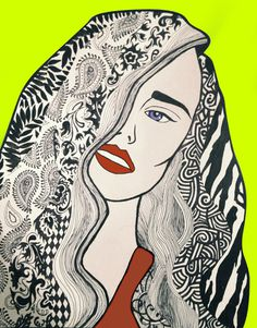 You Over There - Katie Melrose #abstract #ink #girl #pop #pen #art #patterns