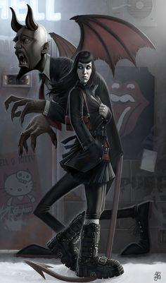 No sympathy for the devil by PapaNinja on deviantART #devil #girl