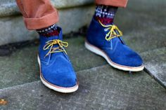 Tittysandpancakes #blue #suede #yellow #shoes