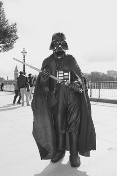Darth Vader trying to take over the South Bank in London. #white #london #wars #black #photography #portrait #vader #star #and #darth