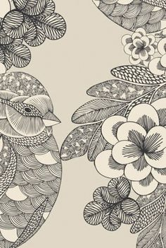 Abcde... wxYz - Print #patern #japanese #illustration #oriental #birrd #flowers