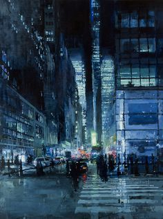 Jeremy Mann's Cityscapes | http://off-the-wall-b.tumblr.com/ #night #city #wall-b #painting
