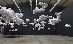 CJWHO ™ (Paper Clouds Suspended in Geometric Clusters by...) #creative #clouds #installation #crafts #design #geometric #art