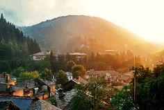 Bulgaria, Rodopi, Shiroka Laka #settlement #sun #haze #town #landscape #photography #sunrise #bulgaria #sunset #village #beauty