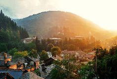 Bulgaria, Rodopi, Shiroka Laka #settlement #sun #haze #town #landscape #photography #sunrise #bulgaria #sunset #village #beauty