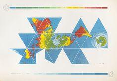 buckminster fuller, dymaxion world map #map #art #graphic #cartography #world #dymaxion #icosahedron #one world ocean