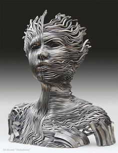 Human Figure Composed of Unraveling Stainless Steel Ribbons by Gil Bruvel #inspiration #abstract #creative #design #unique #sculptures #cool