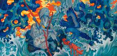 "#jamesjean Mixed Media on Four Canvases, 180 x 88"", 2015."
