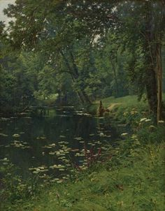 A Woodland Pond, Henri Biva #naturalism #realism #nature #painting #oil